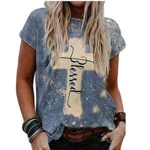 Blessed Bleach Splattered Graphic T-Shirt